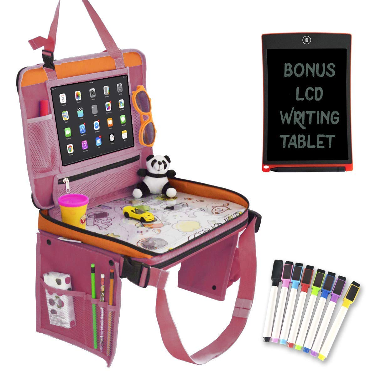 Car Seat Organizer for Kids Travel Tray Bundle with LCD Writing Tablet-Kids Travel Activities Set | Car Seat Organizer with Tablet Holder, Kids Travel Bag, LCD Writing Tablet,Markers Set (Pink/Blue)