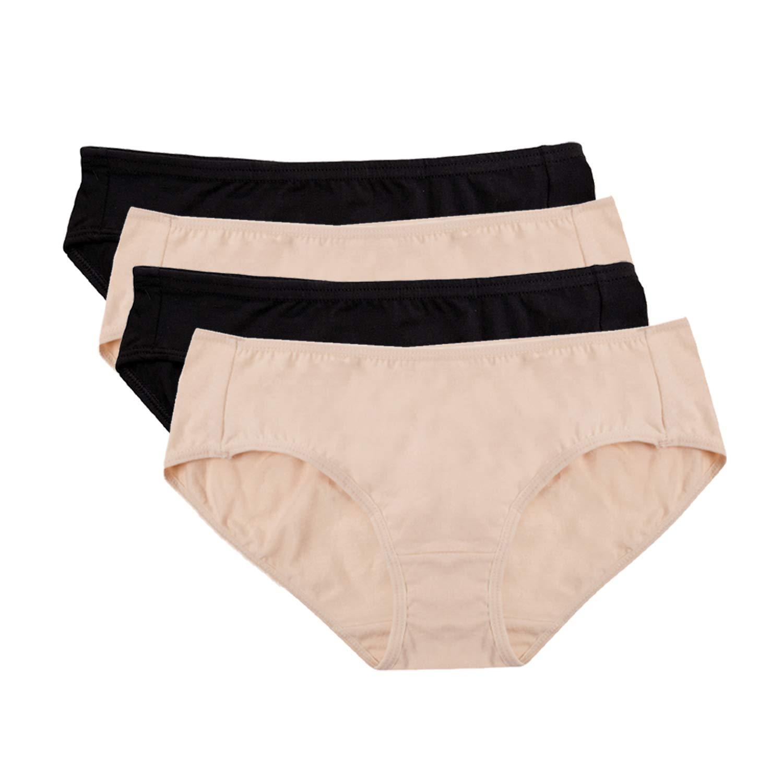 Hesta Women's Organic Cotton Basic Panties Underwear 4 Pack (X-Large, 2black/2natural)