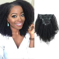 Lovrio Hair 9A Grade Afro Coily Hair 4B 4C Clip in Human Hair Extensions Double Weft Real Remy Hair for Black Women 4AC Hair 7 Pieces 120g with 17 Clips 12 Inch