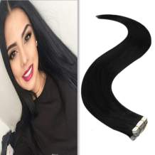 [3 Bags Save $8.01]YoungSee 14Inch Tape in Hair Extensions Human Hair Natural Black 20Pcs 50G Short Remy Tape in Human Hair Extensions Skin Weft