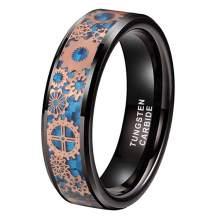 iTungsten 6mm 8mm Silver/Black Tungsten Rings for Men Women Steampunk Gear Wheel Blue/Purple Carbon Fiber Inlay Beveled Edges Comfort Fit