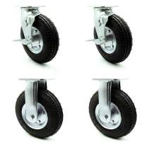 """8"""" Pneumatic Caster Set of 4-2 Swivel with Brakes/2 Rigid - Black Rubber Wheel - 1,200 lbs. Capacity - Service Caster Brand"""
