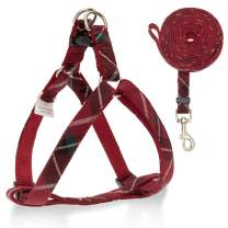 SCIROKKO No Pull Dog Harness and Leash Set - Adjustable Plaid Step in Puppy Basic Harness for Small Medium Dogs Cats