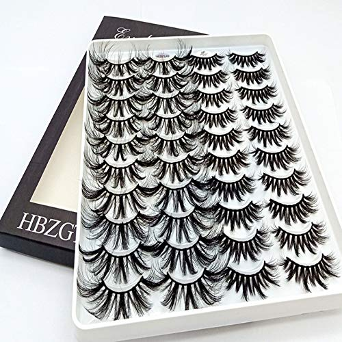 HBZGTLAD 20 Pairs 3D Soft Mink False Eyelashes Handmade Wispy Fluffy Long Mink Lashes Natural Eye Extension Makeup Kit Cilios (3D-XK)