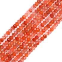 GEM-Inside 3X4mm Red Agate Gemstone Loose Spacer Beads Faceted Rondelle Energy Stone Power for Jewelry Making 15''