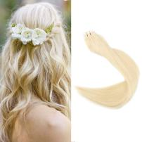 """Full Shine 16"""" Blonde Hair Extensions Adhesive Tape Human Hair Extensions 20 Pieces 2.5g Per Piece Tape Hair PU Extensions color #613 Skin Weft"""