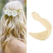 "Full Shine 16"" Blonde Hair Extensions Adhesive Tape Human Hair Extensions 20 Pieces 2.5g Per Piece Tape Hair PU Extensions color #613 Skin Weft"