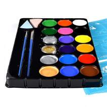 Zecti Face Paint Kit for Kids, 16 Large Paints, 2 Brushes, 2 Sponges - Halloween Makeup Kit, Professional Non-Toxic Face & Body Paints, Easy to Painting and Washing