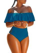 Ninimour Women 2 Piece Bikini Set Off Shoulder Ruffled High Waisted Swimsuit Summer Beach Pool Bathing Suit