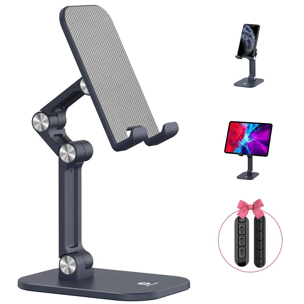 """OCYCLONE Cell Phone Stand + 2 PCS Cable Organizer, Angle Height Adjustable iPhone Stand for Desk, Foldable Cell Phone Holder Tablet Stand Compatible with 4""""-12.9"""" Phone Tablet"""