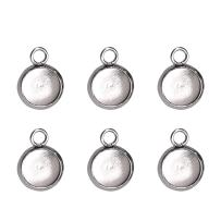 Cabochon Blanks Pendant Settings Trays Bezel Charms Stainless Steel Connector for Jewelry Making with Hole 8mm 50Pcs