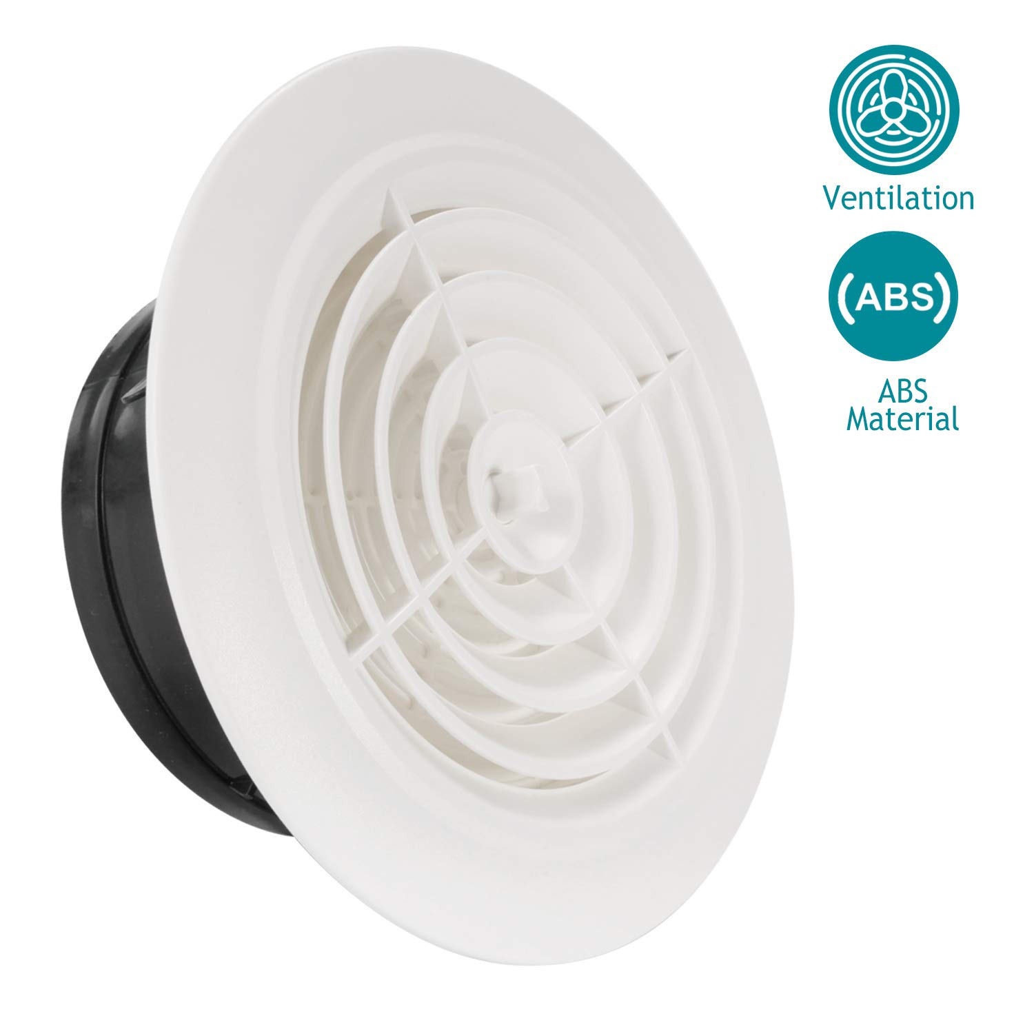 HG POWER 6 Inch Round Air Vent ABS Louver White Grille Cover Adjustable Exhaust Vent Fit for Bathroom Office Kitchen Ventilation