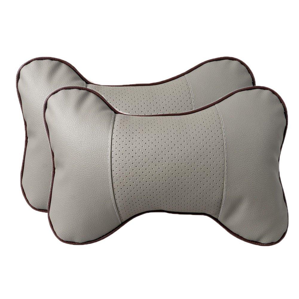 Leeko 2PCS Leather Car Seat Pillow Breathable Car Head Neck Rest Cushion Headrest Auto Car Safety Pillow (Gray)
