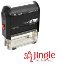 Self-Inking Christmas Rubber Stamp - Jingle All The Way - Red Ink