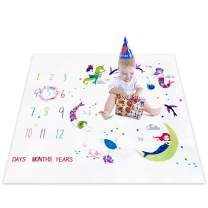 Topixdeals Baby Monthly Milestone Blanket, Photography Backdrop with Headband for Newborn Boy Girl, Infant Newborn Baby Swaddling Month Blanket for Photography New Mom Baby Shower Gifts