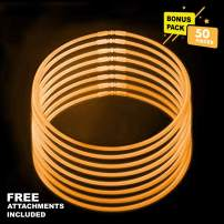 Lumistick 20 Inch Glowstick Necklace with Connectors   Kid Safe & Non-Toxic Neckwear   Great for Parties, Weddings, Halloween & Christmas with Glows up to 12 Hours (Orange, 50 Glow Sticks)