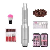 yinhua Portable Nail Drill Set Electric Nail Drill Set Electric Professional Nail Drill Set with 11Pcs Nail Drill Bits and 56 Sanding Bands and Brush Manicure Pack for Home Salon Silver