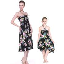 Matching Hawaiian Luau Mother Daughter Halter Dress in Hibiscus Black