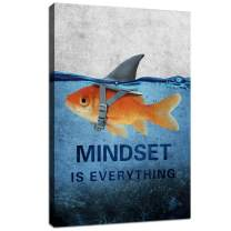 "Mindset is Everything Motivational Canvas Wall Art Inspirational Entrepreneur Quotes Poster Print Artwork Positive Goldfish Shark Painting Picture Office Bedroom Living Room Home Decor - 12""Wx18""H"