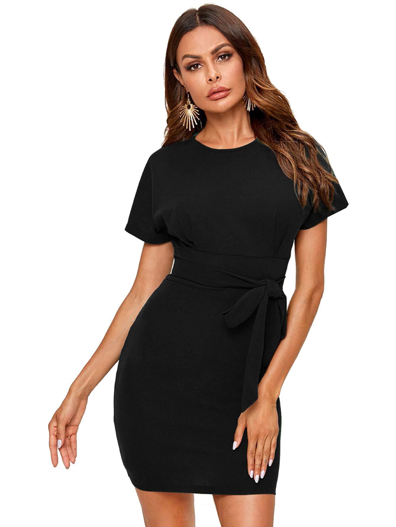 Verdusa Women's Elegant Belted High Waist Short Sleeve Bodycon Dress