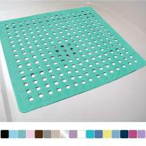 Gorilla Grip Original Patented Bath, Shower, and Tub Mat, 21x21, Machine Washable, Antibacterial, BPA, Latex, Phthalate Free, Square Bathroom Mats with Drain Holes, Suction Cups, Turquoise Opaque