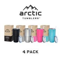 Arctic Tumblers Stainless Steel Camping & Travel 30 oz Tumbler With Lid (Splash Proof), Double Wall Vacuum Insulated, Premium Insulated Thermos - (Stainless, Turquoise, Pink, Black, 4-pack)