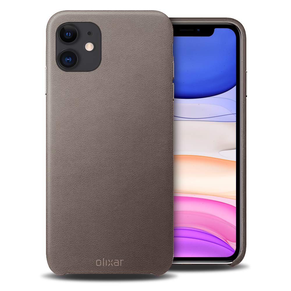 Olixar for iPhone 11 Genuine Leather Case - Back Protective Cover - Premium Slim Design - Wireless Charging Compatible - Grey