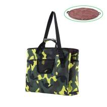 Diaper Bag Tote Changing Pad 2 in 1 Waterproof Outdoors Large Capacity Camo Print Side Pockets Conveniet Assembly