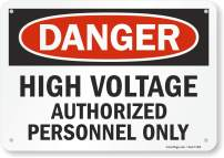 "SmartSign ""Danger - High Voltage, Authorized Personnel Only"" Sign 
