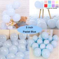 Party Pastel Balloons 200 pcs 5 inch Macaron Candy Colored Latex Balloons for Birthday Wedding Engagement Anniversary Christmas Festival Picnic or any Friends & Family Party Decorations-pastel blue