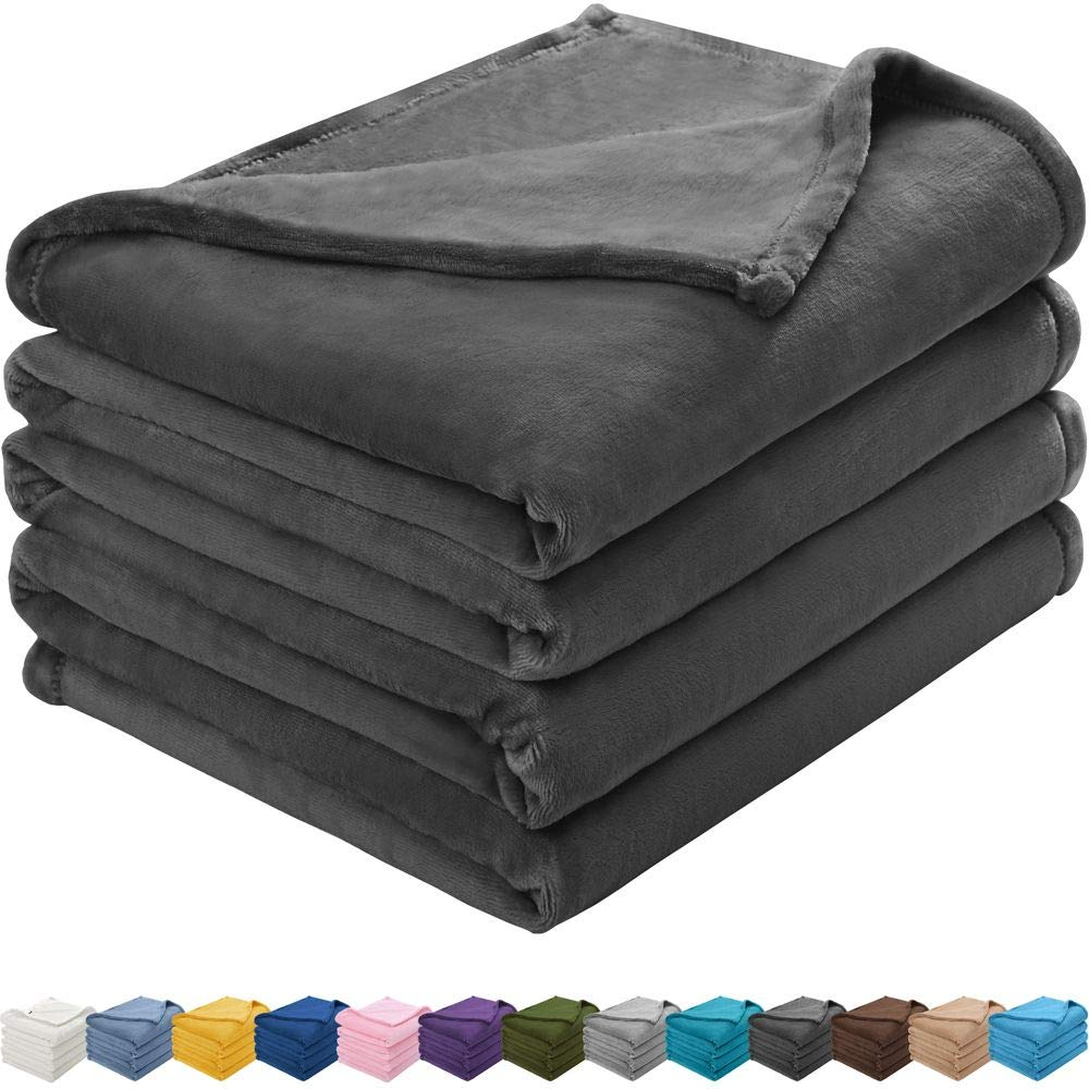KAWAHOME Flannel Fleece Blanket Lightweight Warm Fuzzy Soft Microfiber Blankets All Season for Bed Couch Sofa King Size 108 X 90 Inches Dark Grey