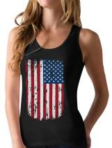 4th of July Tank Patriotic Vintage USA Flag Racerback Women's Tank Top