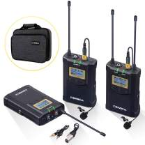 Wireless Lavalier Microphone System, Comica CVM-WM100 Plus UHF 48-Channel Dual Lav Mic Set for DSLR Camera XLR Camcorder Broadcast (2 Transmitter+1 Receiver)