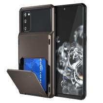 Maxdara Compatible Galaxy S20 Case Wallet Card Holder,Dual Layer Hybrid Rugged Rubber Bumper Hard Cover with Hidden Credit Card Slot for Galaxy S20 6.2 inches, Gun Metal
