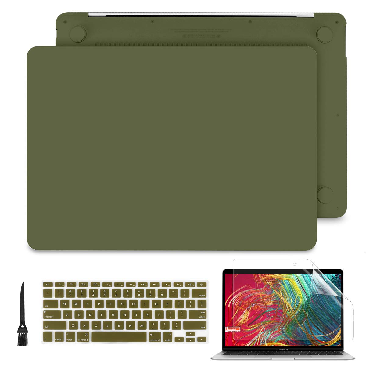 Batianda MacBook Pro 13 inch Case 2019 2018 2017 2016 Model A2159 A1989 A1706 A1708, Soft Touch Plastic Hard Shell Cover for New MacBook Pro 13.3'' Case w/Without Touch Bar (Avocado Green)