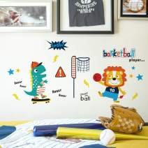 DKTIE Wall Stickers Decals for Kids Room Bedroom Baby Room Wall Decor Sticker Cute Animal Sports Basketball ,Two Pieces Combination 4060cm/15.723.6inch
