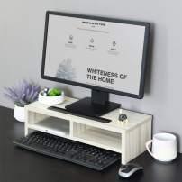 BLACKOBE Monitor Riser Computer Stand Office Desktop Keyboard Simple Adjustable Storage Shelf Organizer with Groove (White)