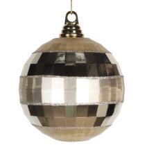 """Vickerman M151638 Plastic Shiny Matte Mirror Ball with Matching Glitter, 5.5"""", Champagne"""