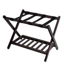 WELLAND Wood Collapsible Foldable Luggage Rack Holder with Shelf Suitcase Luggage Stands for Guest Room (Espresso)