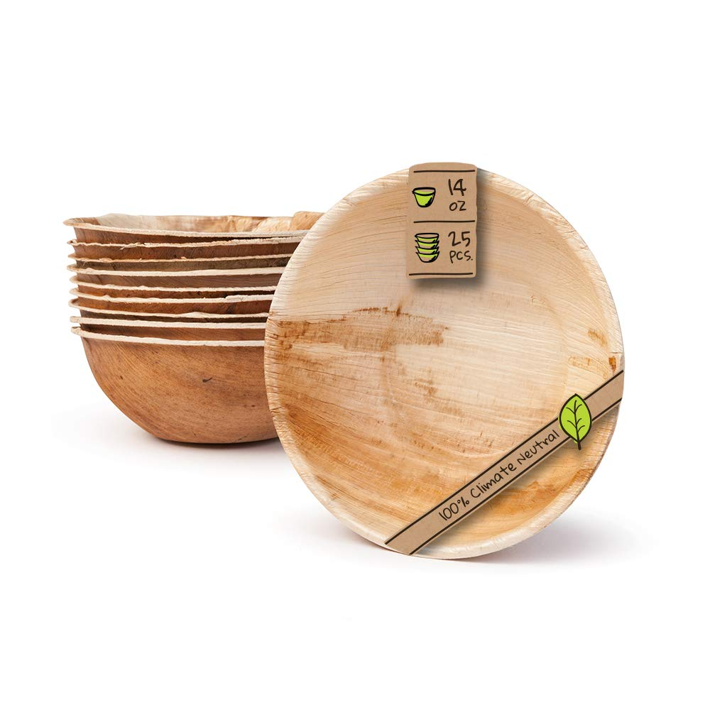 Naturally Chic Palm Leaf Compostable Bowls - 6 Inch Round Biodegradable Disposable Small Dinnerware Bulk Set - Eco Friendly - Bowls for Weddings, Parties, BBQs, Events (25 Pack)
