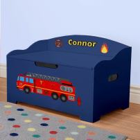 DIBSIES Personalization Station Personalized Modern Expressions Toy Box (Blue with Firetruck Theme)