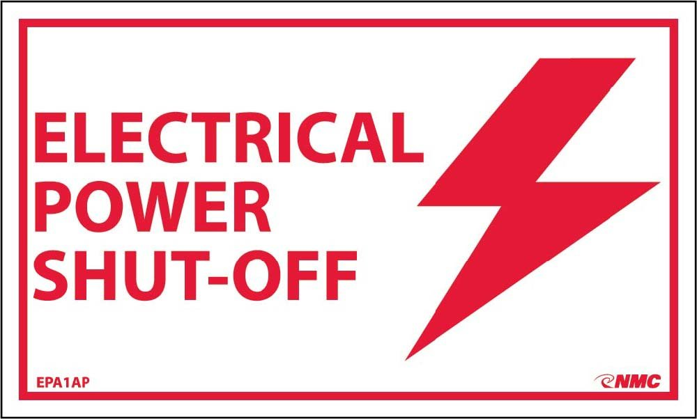 EPA1AP National Marker Electrical Power Shut-Off Label (Pack of 5)