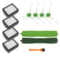 Doitby Replacement Parts for iRobot Roomba i7 i7+ i7 Plus E5 E6 Vacuum Cleaner Accessories,(1 Set of Multi-Surface Rubber Brushes,4 HEPA Filters,4 Edge-Sweeping Brushes)