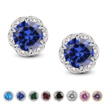 Jardme Crown Shape Crystal Round Earring Stud White Cubic Zircon Earring Stud For Party, Evening