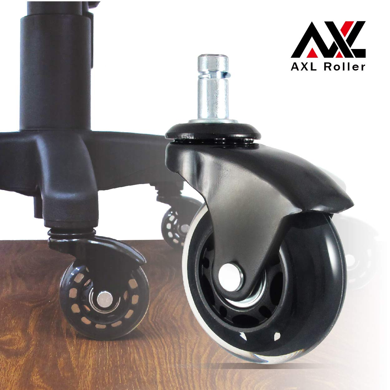 Office Chair Caster Wheels Roller Blade for Hardwood, Replacement Computer Mat, PU Style Castors, Desk Chair Floor Protector, No Noise, Heavy Duty - Wheel Set of 5, (Black Feet, Black/Clear)