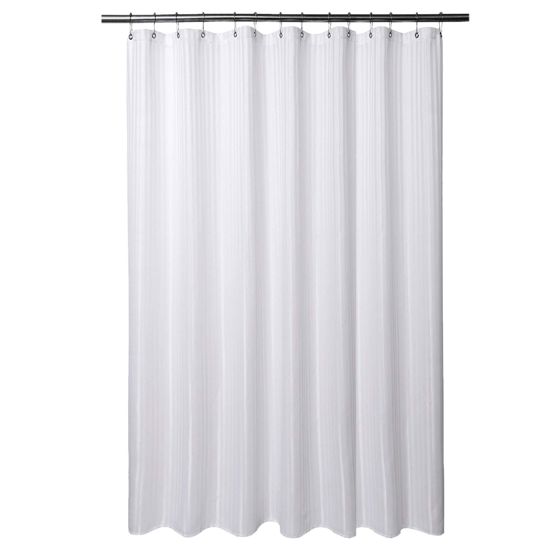 Barossa Design XLong Fabric Shower Curtain 78 x 94 Inches - Herringbone & Striped, Hotel Grade, Machine Washable, Water Repellent, 160 GSM Heavyweight, White, 78x94