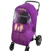 Spring Fever Baby Cartoon Universal Dual Zipper Sun Shade Storage Bag Windproof Clear Rain Dust Cover Travel Stroller Weather Shield Purple