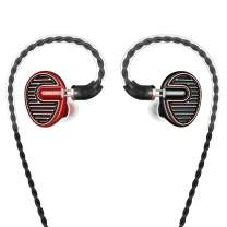 SIMGOT EN700 PRO High Fidelity in-Ear Monitor Headphones with Detachable Cable, Sound Stereo IEM Earphones with Dynamic Balanced Driver, HiFi Earbuds Noise-Isolating Musician Headphones (Red/Black)