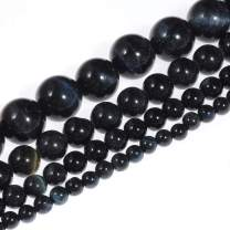 """Natural Stone Beads 10mm Deep Blue Tiger Eye Gemstone Round Loose Beads Crystal Energy Stone Healing Power for Jewelry Making DIY,1 Strand 15"""""""