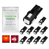 TUINCYN Extremely Bright T10 194 168 2825 175 921 912 Socket LED Bulbs Red Interior Dome Light Bulbs Parking Light Bulb Reverse Light Bulb Rear Side Markers 2W 12V 450 Lumens 5630 6SMD (10pcs)